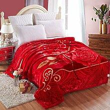 Wddwarmhome Winter-doppelte warme Decken-Pflanzen-Blumenmuster-Polyester-Material-Rot Wolldecke ( größe : 180*220cm )