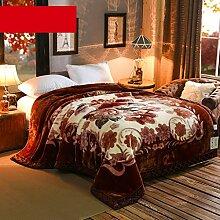 Wddwarmhome Winter Warme Decke Braun Decke Schlafzimmer Bettdecke Pflanze Blumenmuster Büro Nap Decke Raschel Decke weich und komfortabel Wolldecke ( größe : 200*230cm )