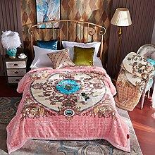 Wddwarmhome Winter Warme Decke Pflanze Blumenmuster Schlafzimmer Bettdecke Wohnzimmer Freizeitdecke Polyester Material Größe: 200 * 230cm Wolldecke ( Farbe : Pink )