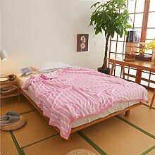 Wddwarmhome Winter Warme Decke Streifen Muster Büro Nap Decke Schlafzimmer Bettdecke Decke Freizeitdecke Polyester Material Wolldecke ( Farbe : Pink , größe : 150*200cm )