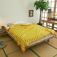 Wddwarmhome Winter Warme Decke Streifen Muster Büro Nap Decke Schlafzimmer Bettdecke Decke Freizeitdecke Polyester Material Wolldecke ( Farbe : Gelb , größe : 180*200cm )