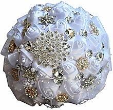 WDOIT Brautjungfer Blumenstrauß Satin Diamant