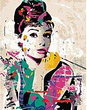 wdsdtt Malen nach Zahlen Audrey Hepburn Malen nach