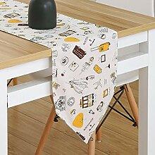 WDSJZQ Tischläufer, Florale Tabelle Flag Ohne