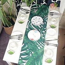 WDSJZQ Tischläufer Grünes Blatt Tischdecke