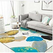 WDSZY Teppich Europäisch Abstrakt Aquarell Grün