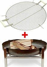 We Are Shopping - Feuerschale mit Grillrost, Designer-Feuerschale mit hochwertigem Edelstahl-Grillrost (S - 63 x 63 x 25 cm)