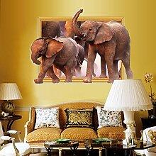 Weaeo 3D-Fenster Elefanten Wand Aufkleber Für