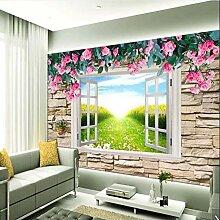 Weaeo 3D Fototapete Wandbild Rose Fenster Wand