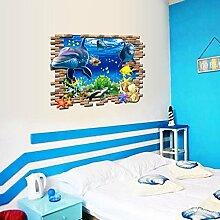 Weaeo 3D-Unterwasserwelt Dolphin Wand Aufkleber Für Kinder Baby Zimmer Home Deko Wandbild Poster Kunst Tiere Aufkleber Aufkleber Schlafzimmer