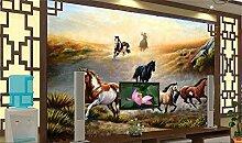 Weaeo 3D Wallpaper/Benutzerdefinierte Fototapete/Mercedes-Benz Pferd Gras/Wandbild/Tv/Sofa/Schlafzimmer/Ktv/Hotel/Wohnzimmer/Kinderzimmer-280X200Cm