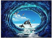 Weaeo 3D Wallpaper Benutzerdefinierte Mural Schönheit Vlies Mysteriösen Wald Blau Ozean Ideen 3 D Tv Einstellung Wand Tapete-400X280Cm