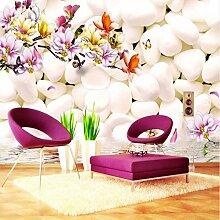 Weaeo 3D Wallpaper Foto White Pebble Magnolia
