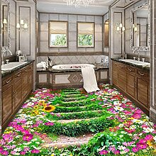 Weaeo Benutzerdefinierte 3D Boden Tapete Blumen