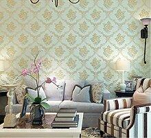 Weaeo Europäische Muster Geschnitzt Wallpaper Schlafzimmer Wohnzimmer Tv-Wand Tuch Hellgrün