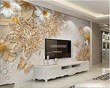 Weaeo Foto Wandbild Tapete 3D Luxus Gold Schmuck