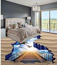 Weaeo Moderne Aufkleber 3D-Stock Den Himmel Vogel Strand Holzbrücke Pvc Aufkleber Malerei Wandbilder-280 X 200 Cm