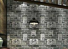 Weaeo Retro Ziegel Schreiben Fahrrad Wallpaper Restaurant Cafe Dekorieren Tapeten Schungite