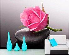 Weaeo Rosen Steine   Rosa Farbe Blumen 3D Tapete