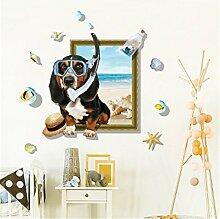 Weaeo Sommer 3D Tauchen Hunde Wand Aufkleber Für