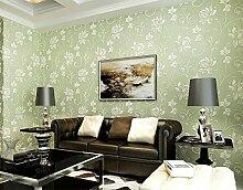 Weaeo Vlies Tapete Super Dick Stereoscopic 3D Schlafzimmer Wohnzimmer Tv Hintergrund Mauer Hellgrün