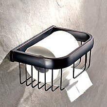 Weare Home Bad Accessoires Retro Schwarz Bronze Toilettenpapierhalter, Klopapierhalter, Toilettenpapier Korb, matt Wandhalter