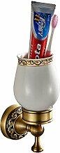 Weare Home Bad Set Retro Solide Kupfer und Keramik Einzeln Zahnbürstenhalter, Minimal mit Einschnitt Bronze Beschichtung Wandmontage Haltbar Badzubehör Badaccessoires Dekor für Küche