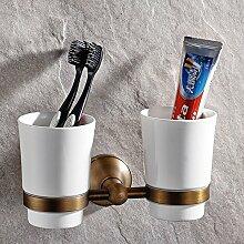 Weare Home Bad Set Retro Solide Kupfer und Keramiken Doppelt Zahnbürstenhalter, Klassic Ländlich Bronze Beschichtung Wandmontage Haltbar Badzubehör Badaccessoires Dekor für Küche