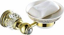 Weare Home Badezimmer Accessoires Seifenhalter mit keramik Schale aus hochwertig Messing Kristall Modern Luxus Dekorativ Poliert Gold finished Befestigung Bohren Wandhalterung Wanmontag
