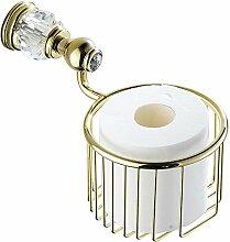 Weare Home Messing Hochwertig Poliert Gold finished Toilettenpapierkorb Toilettenpapierhalter Luxus Modern Dekorativ Design Badezimmer Accessoires mit Kristall