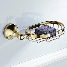 Weare Home Poliert Gold finished Modern Opulent Prunkvoll Prächtig Stil Badezimmer Accessoires Wandmontag Wandhalterung Bohren Seifenkorb Seifenhalter aus Messing