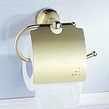 Weare Home Prächtig Opulent Prunkvoll Modern Poliert Gold finished Badezimmer Accessoires Wandmontag Bohren Wandhalterung Toilettenpapierhalter mit Deckel Alle Messing Wasserdich