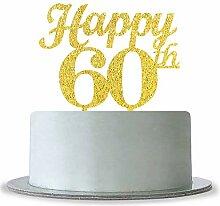 webenison Gold Happy 60th Birthday Cake