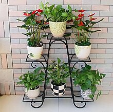 WEBO HOME- Balkon Blumen Regal Boden Wohnzimmer Innenboden Blumentopf Rack -Regal ( Farbe : Schwarz , größe : 76*23*73cm )