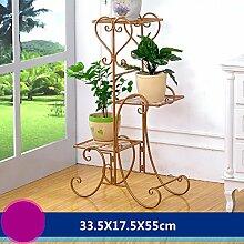 WEBO HOME- Eisenboden Boden Töpfe mehrstöckige Innen - und Außenbereich im europäischen Stil Blumenregal Wohnzimmer Balkon Blumenregal -Regal ( Farbe : Earthly gold , größe : 33.5*17.5*55cm )