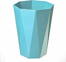 WEBO HOME- European - Style Badezimmer Schlafzimmer Wohnzimmer Küche ohne Kunststoff Abfall Papierkorb Müll -Mülleimer ( Farbe : Blau )