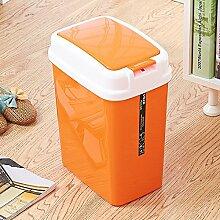 WEBO HOME- Home Kunststoff Trash Farbe Mode Kreatives Badezimmer Küche Rechteck -Mülleimer ( Farbe : Orange )
