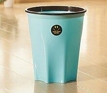 WEBO HOME- Küche Wohnzimmer Schlafzimmer Toilette Toilette ohne Deckel Große Kunststoff runden Korb -Mülleimer ( Farbe : Blau , größe : Kleine )