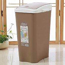 WEBO HOME- Trash Home Badezimmer Küche Wohnzimmer Große überdachte Kunststoff Mülleimer Kreative Covered Körbe -Mülleimer ( Farbe : Braun )
