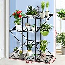 WEBO HOME- Zusammengebaute kreative Kombination von Eisennetz Balkon Blumenregale wirtschaftliche Mode Multi - Fleisch Blume Racks -Regal ( größe : 66*22*66cm )
