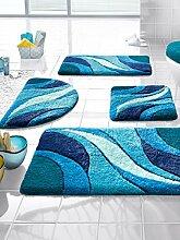 Webschatz Badematte, Sylt blau 50x90 Motiv mehrfarbig rutschhemmend beschichte