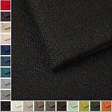 Webstoff Strukturstoff Portland - Möbelstoff Polsterstoff Uni Meterware - schwarz 100