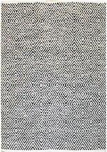Webstoff Teppich in Creme Weiß und Grau 1 cm hoch