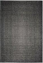 Webteppich Indoor Outdoor Flachgewebe Kurzflor Unifarben Modernes Design – Teppich von 2 Seiten einsetzbar – wendbar leicht strapazierfähig pflegeleicht wärmedurchlässig – 133 x 190 cm - schwarz/braun