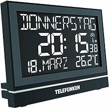 Wecker Funkwecker Wanduhr lautlos Seniorenwecker Seniorenuhr Demenz Uhr XXL groß digital mit hochaufl. Negativ-Display USB Anschluss zur ext. Stromversorgung 8-facher Alarm zB für Medikamenteneinnahme schwarz Telefunken FUX-700-HRB (B)