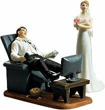 Weddingstar Tortenfigur Tortenaufsatz zur Hochzeit - Couch Potato - Game Over Mann in Sessel