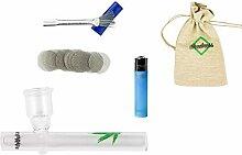 Weedness Glas-Pfeife 10 cm mit Leaf 5-teiliges Set