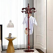 WEEKDEGY Garderobe Coatrack Schlafzimmer Kleiderständer Stil Tasche Rahmen Einfache Hut Rack Massivholz Boden Kleiderbügel (Farbe : Braun)