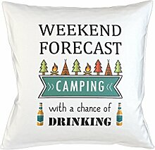 Weekend Forecast Camping With A Chance Of Drinking Schlafsofa Home Décor Kissen Kissenbezug Fall Weiß