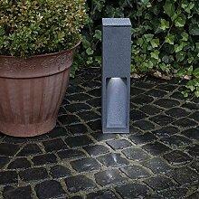 Wegeleuchte Aluminium grau 45 cm | einseitiger Lichtaustritt + E27 + IP43 + robust + winterfest + dimmbar + indirekte Beleuchtung | Gartenbeleuchtung | Außenlampe | Standleuchte | Außenleuchte